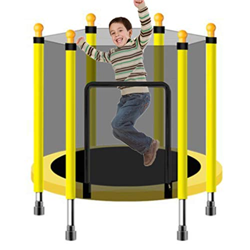 LXXTI Trampolines for Children Outdoor, Trampoline with Safety Enclosur, Trampoline for Children Jumping Training Indoor Outdoor Activities Net,Yellow,140cm/55inch
