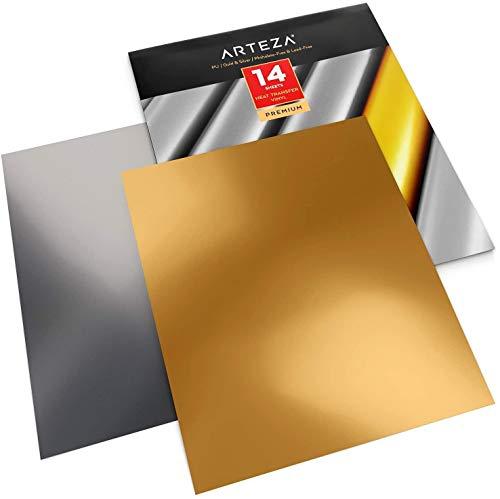 Arteza Vinilo textil termoadhesivo oro y plata   25,4 x 30,5 cm   14 hojas flexibles (7 oro + 7 plata)  Vinilo térmico resistente, fácil de pelar y sin tóxicos   Apto para cualquier máquina de corte