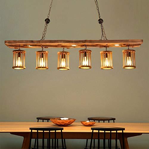 Kronleuchter Hängeleuchte Deckenleuchte Pendelleuchte Retro Industrie Kreative Loft Holz dekorative Hängelampe aus Metall höhenverstellbar Retro hölzerne hängende Lampe Gastronomie Bar Wohnzimmer