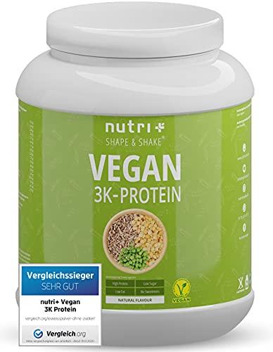VEGANES EIWEIßPULVER Neutral ohne Süßungsmittel und Zucker-Zusatz mit 85,8{a2a0b0dd93e9092e4777cfd4378a1da2d2fa56491865486afc4d9414b3013b58} Eiweiß - Nutri-Plus Vegan Pulver 1kg ungesüßt - Natural Proteinpulver natürlich - zum Backen geeignet