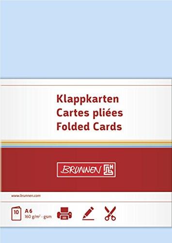 Brunnen 105125332 Klappkarte Universalpapier, A6, 10 Stück, hellblau