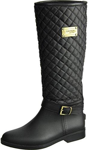 GIESSWEIN Gummistiefel Zirndorf - Elegante Langschaft Stiefel aus PVC, Frauen Schuhe mit Innenfutter, hohe Regenstiefel für Damen, wasserdicht & gefüttert