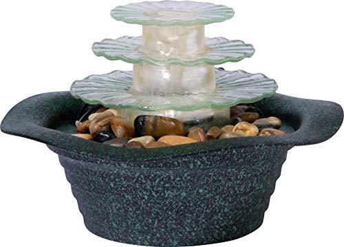dobar Dreistufiger Zimmerbrunnen Metallic-Optik mit Deko-Steinen, Wasserspiel mit Pumpe für innen, Grau, 23 x 23 x 15 cm