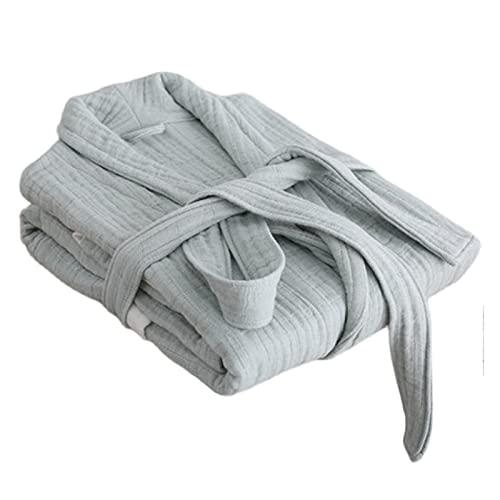 Albornoz de Bata de Vestido 100% algodón, Ropa de salón cómoda y Ropa de Dormir, Seis Capas de Batas absorbentes de Gasa (Color : Green, Size : XL)