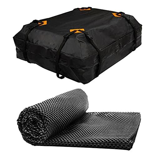 Wubxbvvx Bolsa de techo resistente negra impermeable para coche de carga 420D Oxford tela Rooftop Cargo Carrier