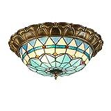 Barroco Tiffany Lámpara De Techo Azul Pluma del Vitral De 21 Pulgadas De Sombra Cálida Luz De Techo Invertido Caliente De La Luz De Color para Comedor Dormitorio Porche Pasillo