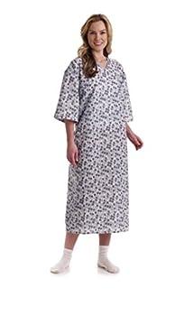 Medline MDTPG5RTSRTB Tieside Patient Gowns Royale Print Two-Tone Blue  Pack of 72