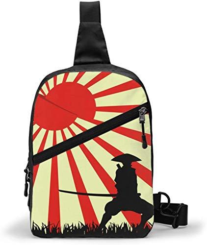 Japanische Bushido Schultertasche, Crossbody Schulter Brust Outdoor Wandern Reisen Persönliche Tasche für Damen Herren Wasserdicht
