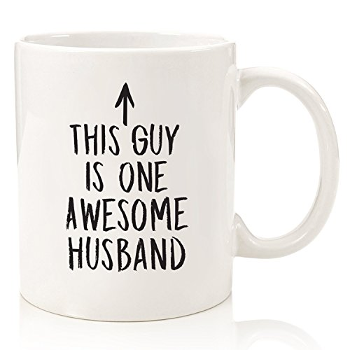 One Awesome Husband Funny Coffee Mug - Best Husband Valentines Gifts from Wife - Unique Anniversary Gifts for Men, Him -Top Birthday Present Idea from Wifey - Fun Novelty Cup for the Mr, Hubby (White)