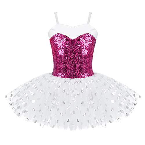 IEFIEL Maillot Vestido de Ballet Danza Lentejuelas para Niña Tutú Bailarina Leotardo Gimnasia Patinaje Tutú Ballet Brillante Rosa 5 años