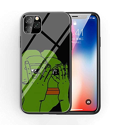 for iPhone 11 Tempered Glass Phone Case A-72 Pepe The Frog Collage Soft Silicone TPU Cover