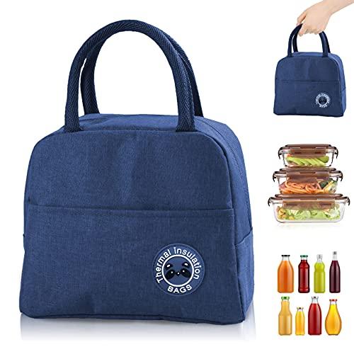 Bolsa Termica, Bolsa del almuerzo Porta Alimentos Organizador del Almuerzo Titular de Almuerzo Contenedor de Almuerzo Térmicas para Llevar Almuerzo para Trabajo Oficina Playa Viaje (azul)