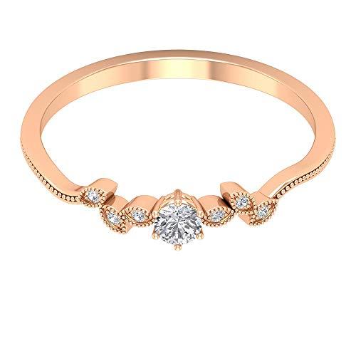 Dainty Verlobungsring, Solitär-Diamant-Ring, Blütenblatt Ring, Milgrain Ehering, Einzigartiger Jahrestag Ring, Minimaler Versprechen Ring, Alltag Ring, 14K Roségold, Size:EU 52