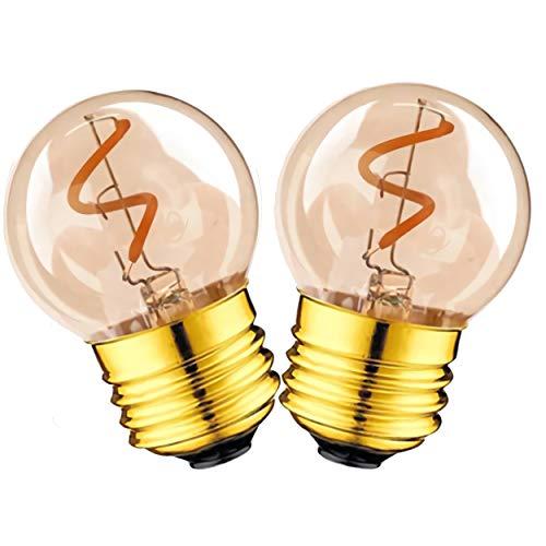 GHKLGTY 2W G40 Retro Edison Filament Bulb,Deep Dimming without Flicker 4000K Warm Yellow Light Decorative Vintage Light Bulbs,2pcs,E26 110V