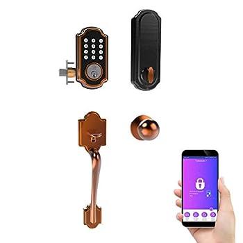 TURBOLOCK Smart Door Lockset Combo — Bluetooth Deadbolt with Keypad + App & Handle | Unlimited eKeys Voice Prompts & Easy Installation on Thicker Doors  TL117+TL121