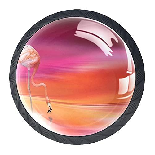 (4 piezas) pomos de cajón para cajones, tiradores de cristal para gabinete con tornillos, para armario, oficina, armario, retro, flamenco, 35 mm