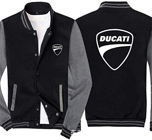 Sudadera unisex, Uniforme de béisbol pulover sudadera de los hombres - DUCATI Cardigan de moda casual de un solo pecho suéter del resorte de costura de las mangas de la chaqueta de deporte - adolescen