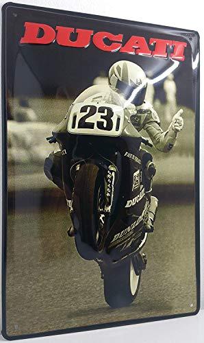 Ducati GP Motorrad, hochwertig geprägtes Retro Werbeschild, Blechschild, Türschild, Wandschild, 30 x 20 cm