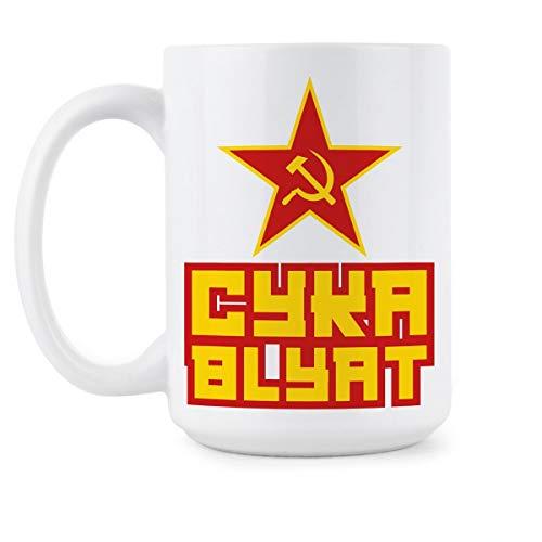N\A Taza CYKA BLYAT Taza de café Rusa Meme Ruso
