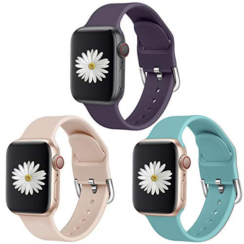 AMODOO 3 Pack Compatible with Apple Watch Band 38mm 42mm 40mm 44mm, Soft Silicone Replacement Band for iWatch Series 5 4 3 2 1 (38mm/40mm S/M)