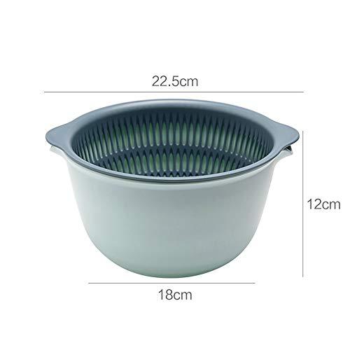 LHY Kitchen Multi-Funktions-Ablaufkorb, zweischichtigen Geschirr/Fruchtschale, eine Küchenspüle Abtropffläche,Grün