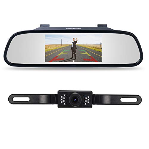 Backup Camera and Monitor Kit,Chuanganzhuo 4.3 Car Vehicle Rearview Mirror Monitor for DVD/VCR/Car Reverse Camera + CMOS Rear-view License Plate Car Rear Backup Parking Camera With 7 LED Night Vision
