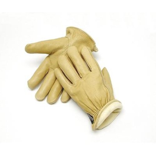 Radnor Large Tan Pigskin Thinsulate Lined Cold Weather Gloves With Keystone Thumb, Slip On Cuffs, Color Coded Hem And Shirred Elastic Wrist