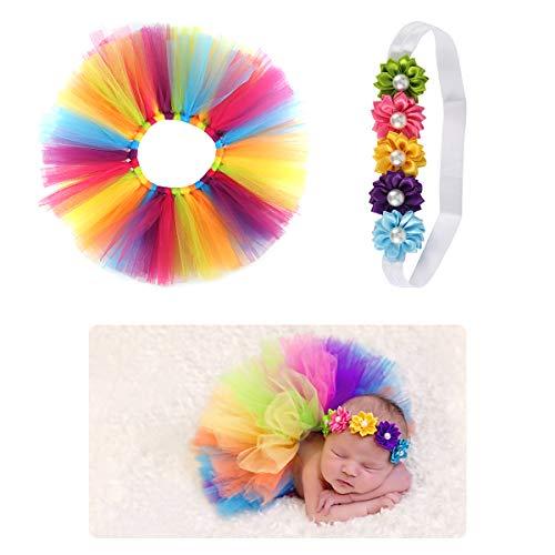 SH-RuiDu Direct Store 2 Stück/Set Neugeborene Baby Regenbogen Tutu Rock Und Blumen Stirnband Fotografie Requisiten Outfits
