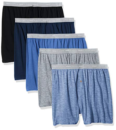 Hanes Men's 5-Pack Exposed Waistband Knit Boxers, Assorted, Large