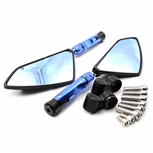 Moto Retrovisores Laterales para Honda PCX125 GROM CBR250R CBR300R / CB300F / FA CBR500R / CB500F / X CNC Universal Motorcycle. Vista Lateral Moto (Color : Blue)
