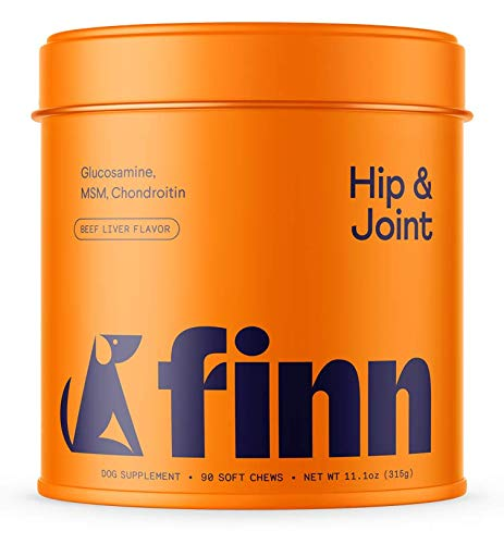 Finn Hip and Joint Supplement for Dogs | Glucosamine, Chondroitin & MSM for Arthritis, Inflammation, and Mobility Support | with Turmeric, BioPerine and B-Vitamins | 90 Soft Chew Treats