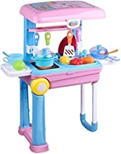ESnipe Mart® Kitchen Set Trolly with Light and Music Toy for Kids, Pink