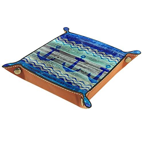FCZ Caja organizadora rústica de piel con anclajes para decoración de la costa, color azul marino y azul marino para guardar joyas, monedero, 20 x 20 cm