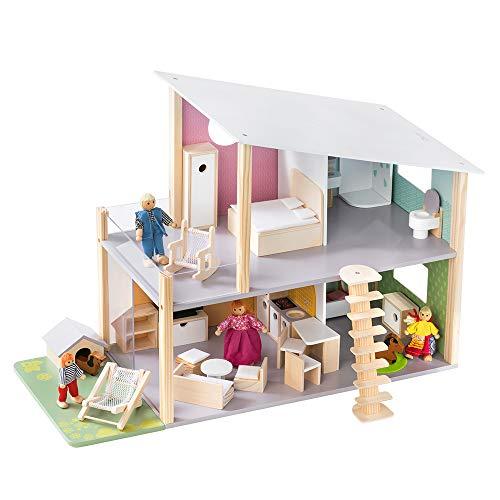 Howa Puppenhaus Nelly aus Holz mit 23 TLG. Möbelset, 4 Puppen und Hund 7015