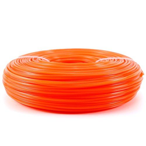 Mähfaden Trimmerfaden Trimmer Line Trimmer Schnur Ersatzfaden Nylonfaden 5-Kant,2.8MM, Orange-rot, 100 Meter