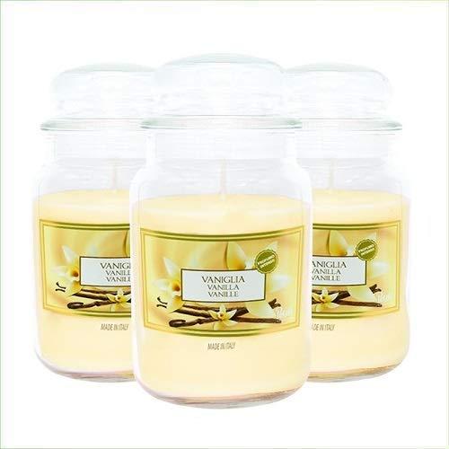 Virsus Candele profumate in Giara Grande Set da 3 Candele profumate Relax Candle profumazione Vaniglia
