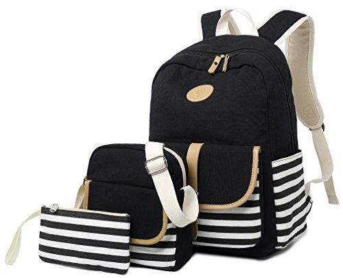 School Backpack for Girls, Gazigo Womens High School College Bookbags Laptop Bag (Black)