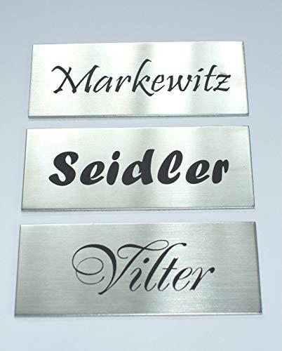 Edelstahl,V2A,Klingelschild,Namensschild,Türschild, Briefkastenschild, 80x40 mm Selbstklebend