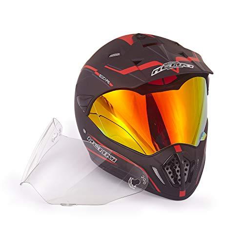Dual Sport Helmet by NENKI Full Face Motocross & Motorcycle Helmets Dot Approved with Iridium Red Visor Attached Clear Visor NK-310 (M, Matt Black & Red)