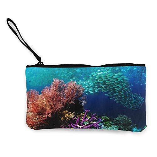 Coral Reef - Monedero de lona con cremallera, monedero para mujeres y niñas