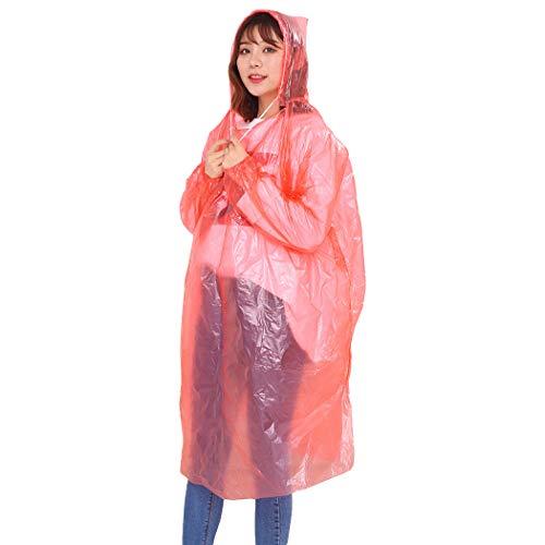 Bageek 5 STKS Regen Poncho Multifunctionele Capuchon Poncho Waterdichte Regenjas voor Volwassen Kid Rood