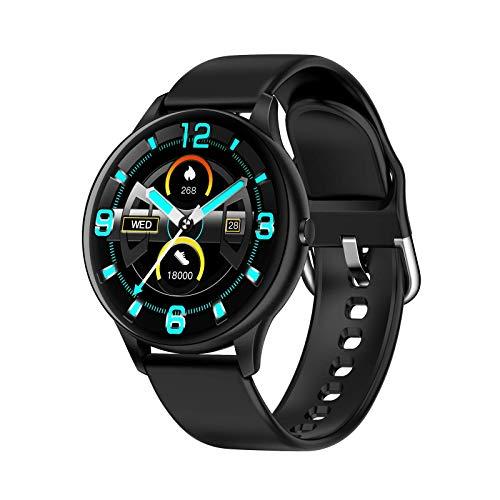 ZHENAO Smartwatch Watch 1.3 Pulgadas Círculo Completo Anillo de Deportes, Paso Contador de Calorías Distancia de la Caloría Recordatorio Mensaje Sedente Exclusivo/Negro