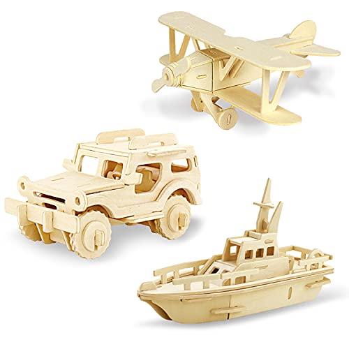 Georgie Porgy Puzzle in Legno 3D Collezione di Modelli Animali Traffico Confezione da 3 Kit per Costruzioni in Legno Kids Jigsaw Toy età 5+ (Biplano Jeep Scialuppa di Salvataggio)