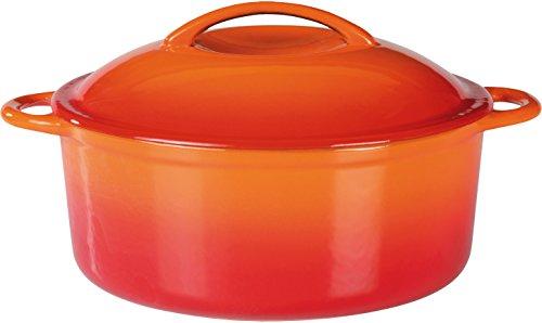GSW 717243 Shadow - Olla con Tapa, 4 L, Hierro Fundido, Naranja/Crema, 24 cm, 1 unidad