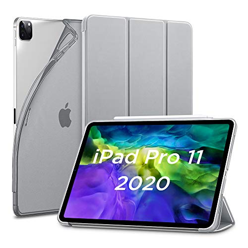 ESR for iPad Pro 11 Case 2020 & 2018, Rebound Slim Smart Case with Auto Sleep/Wake [Viewing/Typing Stand Mode] [Flexible TPU Back with Rubberized Cover] - Gray