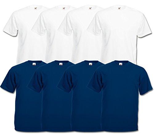 Fruit of the Loom 8 T Shirts Valueweight T Rundhals M L XL XXL 3XL 4XL 5XL Übergröße Diverse Farbsets (M, 4Weiß/4Navy)