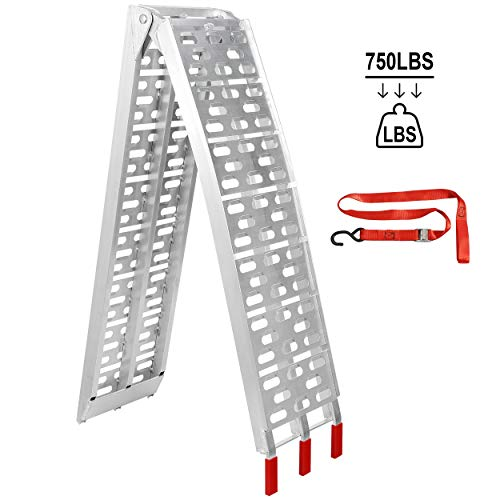 ZENY 7.5' Aluminum Truck Ramps/ATV UTV Ramps/Motorcycle Ramps/Loading Ramps for Lawn Mower/Pickup Trucks/Snow Blower 750lb Capacity, 1 Piece