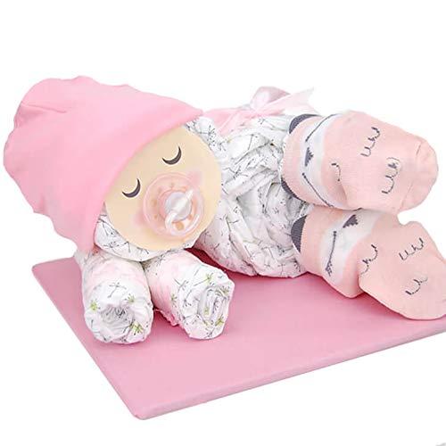 Windeltorte.com – Windelbaby für Mädchen | Windeltorte in Rosa - inkl. 16 LILLYDOO Windeln | Geschenk zur Geburt | Taufgeschenk | Geschenk zur Babyparty – Handgefertigte Windeltorte (Mädchen)