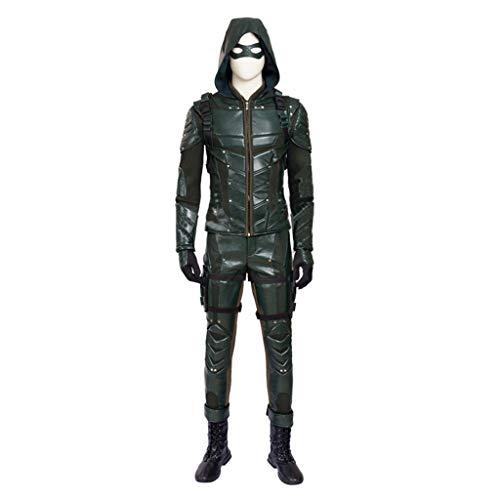nihiug Traje de Cosplay de la Quinta Temporada de Arrow con el Mismo Traje de Cuero Traje de Arco Masculino y Chaqueta de Flecha Arco recurvo Personalizado,Green-XXL