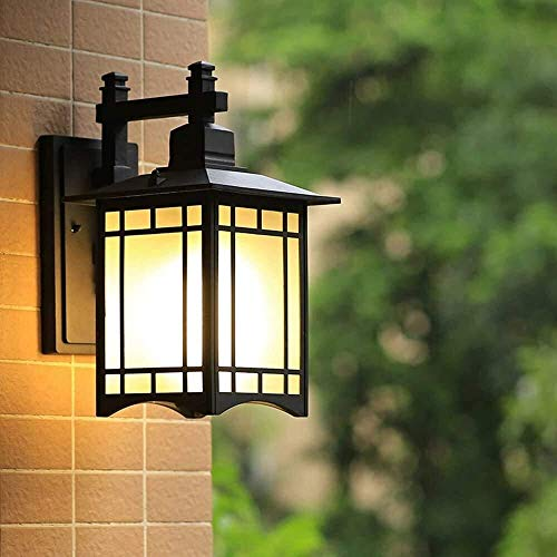 ZGYQGOO Außen wasserdichte Aluminium Wandleuchte Wandleuchte Japanische Terrasse Gartenleuchten Leuchte Balkon Korridor Gang Glas Wandleuchte Wandleuchten Traditionelle Glas Außenbeleuchtung
